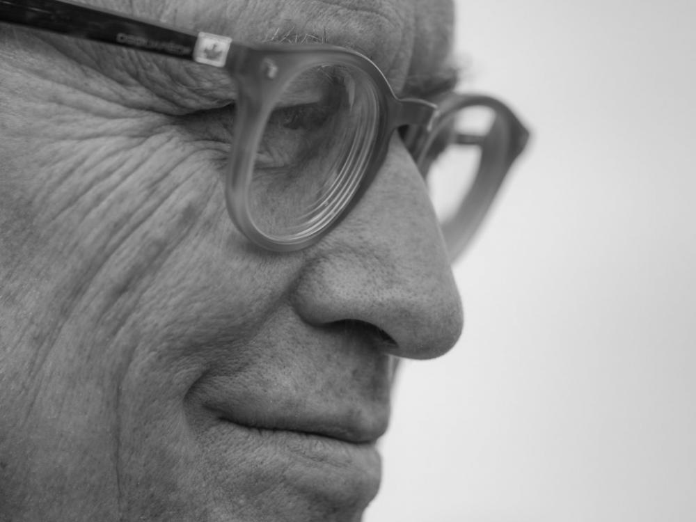 close-up of face with glasses